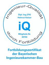 Fortbildungszertifikat der Bayerischen Ingenieurekammer-Bau
