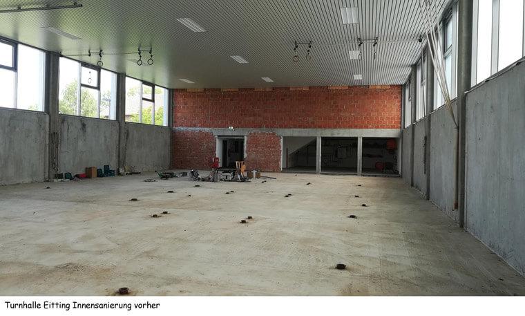 Turnhalle in Eitting, Innensanierung vorher - Dipl.-Ing. Helmut Kaiser